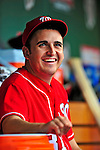 24 May 2009: Washington Nationals' pitcher John Lannan smiles in the dugout prior to a game against the Baltimore Orioles at Nationals Park in Washington, DC. The Nationals rallied to defeat the Orioles 8-5 and salvage one win of their interleague series. Mandatory Credit: Ed Wolfstein Photo