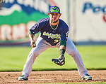 29 June 2014:  Vermont Lake Monsters infielder Gabriel Santana in action against the Lowell Spinners at Centennial Field in Burlington, Vermont. The Lake Monsters fell to the Spinners 7-5 in NY Penn League action. Mandatory Credit: Ed Wolfstein Photo *** RAW Image File Available ****