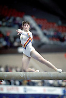 Ecaterina Szabo of Romania performs on balance beam at 1985 World Championships in women's artistic gymnastics at Montreal, Canada in mid-November, 1985.  Photo by Tom Theobald.