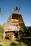 Hawaii: Molokai, Hotel Molokai, scene of Friday night entertainment by locals at the Hotel Molokai, with singers, ukulele strummers, hula dancers, and good food, such as coconut shrimp, and drink, such as rum mai tais. .Photo himolo179-71788..Photo copyright Lee Foster, www.fostertravel.com, lee@fostertravel.com, 510-549-2202