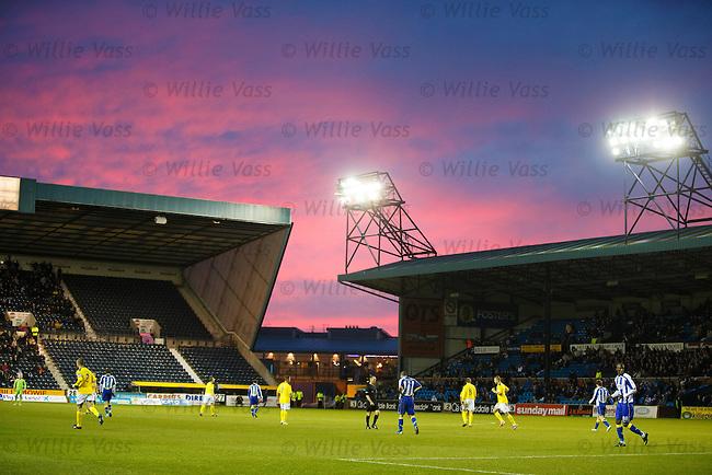 Fiery sky as the sun sets over Rugby Park, Kilmarnock