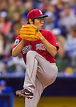 2 April 2016: Boston Red Sox pitcher Koji Uehara on the mound during a pre-season exhibition game against the Toronto Blue Jays at Olympic Stadium in Montreal, Quebec, Canada. The Red Sox defeated the Blue Jays 7-4 in the second of two MLB weekend games, which saw a two-game series attendance of 106,102 at the former home on the Montreal Expos. Mandatory Credit: Ed Wolfstein Photo *** RAW (NEF) Image File Available ***
