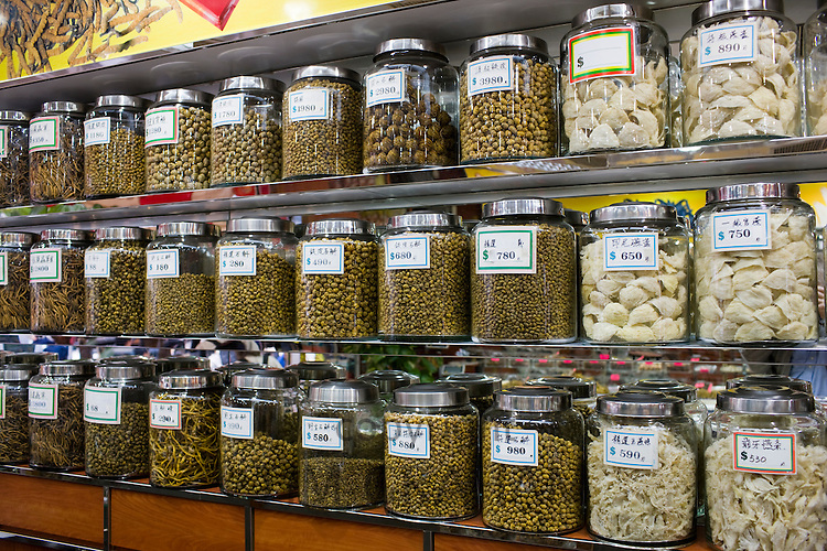 Chinese herbs, medicines, dried seafood and birds nests in shop in Wing Lok Street, Sheung Wan, Hong Kong, China