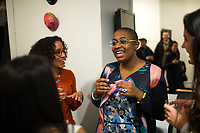 "NEW YORK, NY - MARCH 31: Jazz's singer Cécile McLorin Salvant (C) speaks with attendees during her expo ""The Adventures of the invisible Woman"" at RAW space on March 31, 2017 in Harlem, New York. Photo by VIEWpress/Eduardo MunozAlvarez"