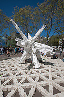 """""""Babel Waste Capital"""" constructed of styrofoam packaging, by Terreform ONE at the """"Ideas City"""" street festival in the Lower East Side of New York on Saturday, May 4, 2013. The festival organized by the New Museum, explores the future of cities with exhibits from groups involved in the arts, education and the environment all presenting their avant-garde ideas.  (© Richard B. Levine)"""
