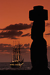 Anchored off the coast of Easter Island, the Esmeralda (BE-43), a steel-hulled four-masted barquentine tall ship of the Chilean Navy and currently the second tallest and longest sailing ship in the world.
