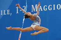 Melitina Staniouta of Belarus performs stag leap with ribbon at 2009 Pesaro World Cup on May 1, 2009 at Pesaro, Italy.  Photo by Tom Theobald.