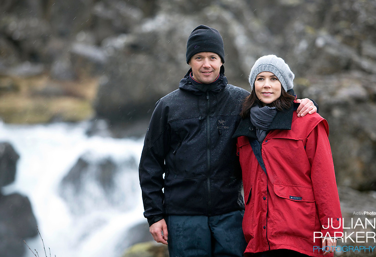 Crown Prince Frederick and Crown Princess Mary of Denmark on a four day official visit to Iceland,take a walk through Almannagja Gorge,  at Thingvellir in Iceland
