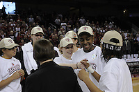 March 14, 2010.  Lindy La Rocque celebrates with teammates Nnemkadi Ogwumike and Melanie Murphy (back to camera) after the Stanford Cardinal beat the UCLA Bruins to win the 2010 Pac-10 Tournament.