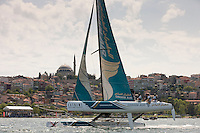 Extreme Sailing Series 2011. Act 3.Turkey . Istanbul.Oman Air Skippered by Sidney Gavignet with teammates Nasser Al Mashari, David Carr and Kinley Fowler.