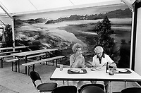 Switzerland. Zürich. An old couple is having lunch. A picture of an alpine scenery is on the wall. Swiss Alps.   © 1990 Didier Ruef