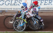 Heat 2: Jason Doyle (white), Robert Mear (blue) and Richie Worrall (red) crashing out and subsequently excluded - Lakeside Hammers vs Swindon Robins at the Arena Essex Raceway, Pufleet - 18/06/12 - MANDATORY CREDIT: Rob Newell/TGSPHOTO - Self billing applies where appropriate - 0845 094 6026 - contact@tgsphoto.co.uk - NO UNPAID USE..