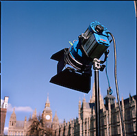 UK. London. From a story on Abingdon Street Gardens, a small patch of land, often referred to as College Green, that lies next to The Houses of Parliament in Westminster. It is a place where the media and the politicians come face to face. Interviews are held, photo shoots are set up and bewildered tourists stroll by..Photo shows a BBC TV light..Photo©Steve Forrest/Workers Photos