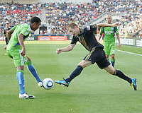 Jordan Harvey #2 of the Philadelphia Union goes for the ball on the foot of James Riley #7 of the Seattle Sounders FC during the first MLS match at PPL stadium in Chester, PA. on June 27 2010. Union won 3-2.