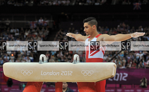 Louis Smith (GBR, Great Britain). Individual Gymnastics - PHOTO: Mandatory by-line: Garry Bowden/SIP/Pinnacle - Photo Agency UK Tel: +44(0)1363 881025 - Mobile:0797 1270 681 - VAT Reg No: 768 6958 48 - 05/08/2012 - 2012 Olympics - North Greenwich Arena, London, England