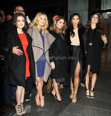 January 12,   2016: Lucy Hale, Sasha Pieterse, Ashley Bensoin, Shay Mitchell, Troian Bellisario at Good Morning America to talk premiere of  season 6 the second half of Pretty Little Liars in New York. Credit:RW/MediaPunch