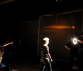 WARSAW, POLAND, January 2013:.Leader of JAGO YOUNG disco polo band, during recording of their music video at the professional studio in Warsaw. Disco polo is a type of dance music which originated in rural areas of Poland. Though considered tacky by many people, it is becoming incredibly popular.(Photo by Piotr Malecki / Napo Images)..Warszawa, styczen 2013:.Lider zespolu disco polo JAGO YOUNG podczas nagrywania teledysku..Fot: Piotr Malecki / Napo Images
