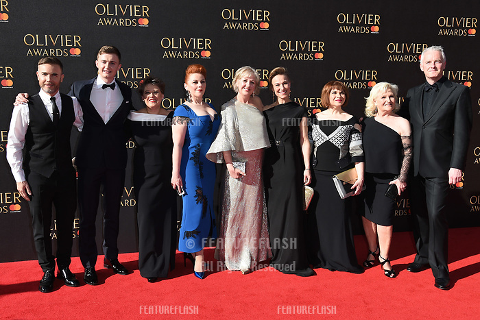 Gary Barlow, The Girls Cast &amp; Tim Firth at The Olivier Awards 2017 at the Royal Albert Hall, London, UK. <br /> 09 April  2017<br /> Picture: Steve Vas/Featureflash/SilverHub 0208 004 5359 sales@silverhubmedia.com