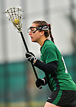 21 April 2012: Binghamton University Bearcat defender Lauren Lukefahr, a Senior from Corning, NY, in action against the University of Vermont Catamounts at Virtue Field in Burlington, Vermont. The Lady cats defeated the visiting Lady Bearcats 12-7. Mandatory Credit: Ed Wolfstein Photo