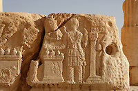Carved relief depicting a man at an altar, peristyle courtyard, sanctuary of Bel Marduk, chief Mesopotamian deity, built 3rd century BC - 1st century AD, Palmyra, Syria, detail Picture by Manuel Cohen
