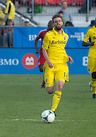 18 May 2013: Columbus Crew midfielder/forward Eddie Gaven #12 in action during an MLS game between the Columbus Crew and Toronto FC at BMO Field in Toronto, Ontario Canada..The Columbus Crew won 1-0...