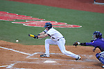 Ole Miss' Will Jamison puts down a squeeze bunt, scoring Sikes Orvis, vs. TCU at Oxford-University Stadium in Oxford, Miss. on Friday, February 15, 2013. Ole Miss won the season opener 1-0.