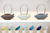 Danish minimallst design ceramics by designer craftsman Ditte Fischer selling in stylish shop in Laederstraede in Copenhagen, Denmark - teapot