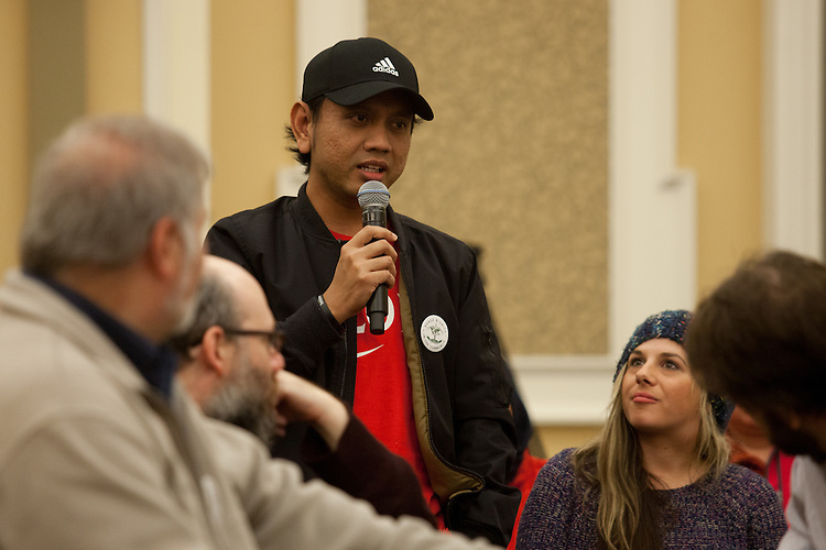 Moch Syifa shares his story during at the end of the Bobcat Unity Walk in Baker Ballroom on Tuesday, Feb. 28, 2017. After the walk, students, faculty members, and Athens residents gathered in the ballroom to share stories of their diverse backgrounds.