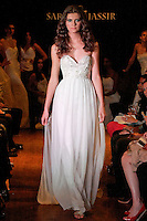 Model walks the runway in a Sublime wedding dress - silk chiffon strapless with re-emroidered lave bodice, by Sarah Jassir, for the Sarah Jassir Couture Bridal Fall 2012 Opulence collection.
