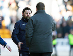 St Johnstone v Dundee....11.04.15   SPFL<br /> Paul Hartley shakes hands with Tommy Wright at full time<br /> Picture by Graeme Hart.<br /> Copyright Perthshire Picture Agency<br /> Tel: 01738 623350  Mobile: 07990 594431