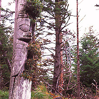 Skedans (National Heritage Site), Haida Gwaii (Queen Charlotte Islands), Northern BC, British Columbia, Canada - Historic Haida Mortuary Totem Pole on Louise Island, Gwaii Haanas National Park Reserve and Haida Heritage Site