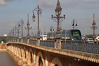 The old bridge Pont de Pierre. Bordeaux city, Aquitaine, Gironde, France