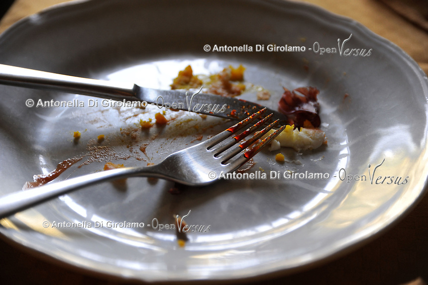 Avanzi di un pranzo nel piatto.Leftovers from a meal in the dish...