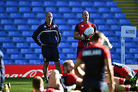 England head coach Stuart Lancaster looks on. England Captain's Run on October 9, 2015 at Manchester City Stadium in Manchester, England. Photo by: Patrick Khachfe / Onside Images
