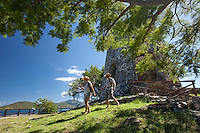 Hikers at Annaberg Plantation Ruins.Virgin Islands National Park.St. John, U.S.  Virgin Islands