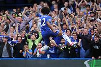 Willian celebrates scoring Chelsea's opening goal during Chelsea vs Sunderland AFC, Premier League Football at Stamford Bridge on 21st May 2017