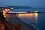 Pier, Bay, Beach, Culver Cliff, Dusk, Sandown, Isle of Wight, England, UK,