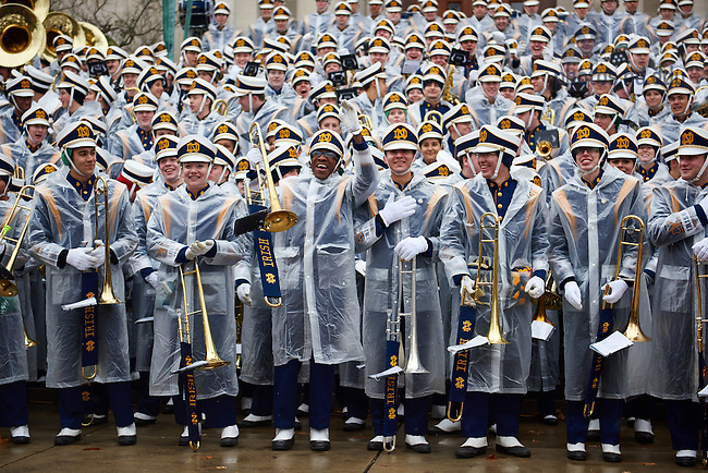 November 19, 2016; The Notre Dame Marching Band prepares to play their Concert on the Steps before a football game. (Photo by Rob Regovich/University of Notre Dame)