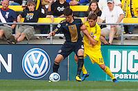 24 OCTOBER 2010:  Philadelphia Union midfielder Stefani Miglioranzi (15) and Columbus Crew midfielder/forward Robbie Rogers (18) during MLS soccer game at Crew Stadium in Columbus, Ohio on August 28, 2010.