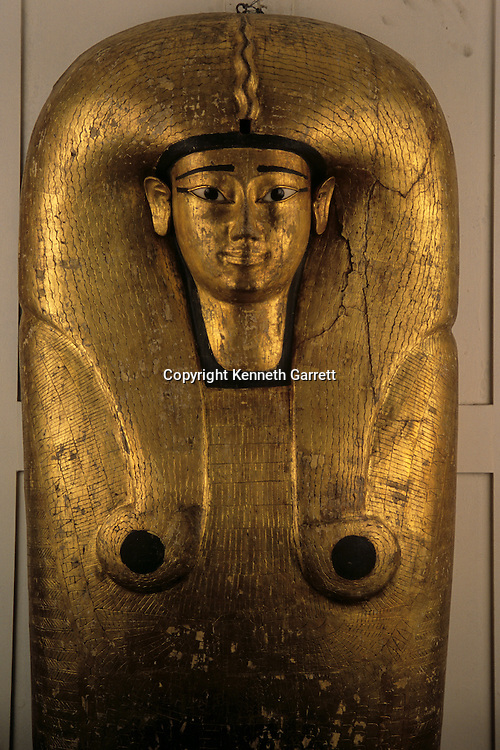 Sarcophagus of Queen Ahhotep made of wood with stucco, gold leaf, alabaster and obsidian.