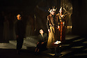 London, UK. 11.02.2014. English Touring Opera presents KING PRIAM in the Linbury Studio at the Royal Opera House. Picture shows:  Andrew Slater (Old Man), Clarissa Meek (Nurse), Roderick Earle (Priam) and Laure Meloy (Hecuba). Photograph © Jane Hobson.