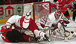 University of Nebraska at Omaha's Dan Ellis gaurds the net for Mavs.<br /> (photo by Chris Machian/Prairie PIxel Group)