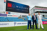 Picture by Allan McKenzie/SWpix.com - 16/05/2017 - Cycling - Yorkshire County Cricket Club Mazars Sponsorship 2017 - Headingley Cricket Ground, Leeds, England - Gary Ballance & Ben Coad with Mazars' Business Development Director Stephen Foster.