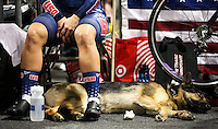 Picture by Alex Whitehead/SWpix.com - 04/03/2017 - Cycling - UCI Para-cycling Track World Championships - Velo Sports Center, Los Angeles, USA - USA tandem rider Shawn Cheshire with her dog before a race.