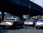 Traffic and underpass. Series of images from New York between 1975 -1977. New York,USA.