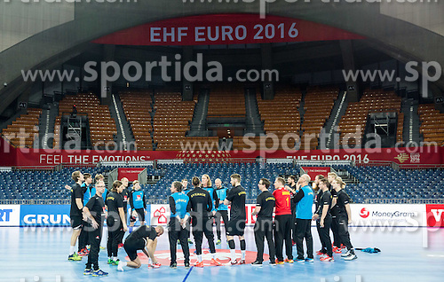 Staffan Olsson and Ola Lindgren, coaches with players during practice session of Team Sweden on Day 1 of Men's EHF EURO 2016, on January 15, 2016 in Centennial Hall, Wroclaw, Poland. Photo by Vid Ponikvar / Sportida