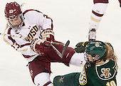 Andie Anastos (BC - 23), Brittany Zuback (UVM - 19) - The Boston College Eagles defeated the visiting University of Vermont Catamounts 2-0 on Saturday, January 18, 2014, at Kelley Rink in Conte Forum in Chestnut Hill, Massachusetts.