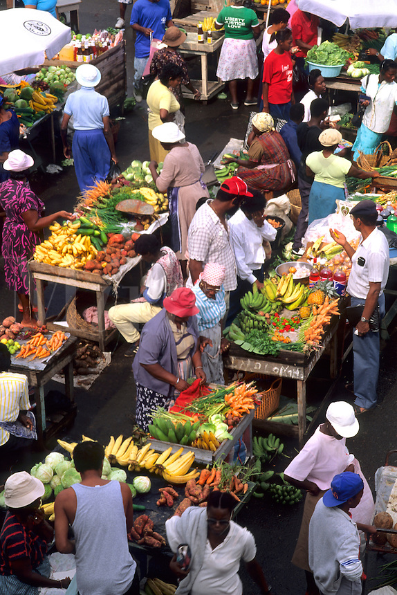 Colorful Fruit Market of St Georges in Grenada Caribbean