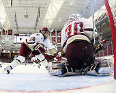 Meagan Mangene (BC - 24), Molly Schaus (BC - 30), ? - The Boston College Eagles and the visiting University of New Hampshire Wildcats played to a scoreless tie in BC's senior game on Saturday, February 19, 2011, at Conte Forum in Chestnut Hill, Massachusetts.