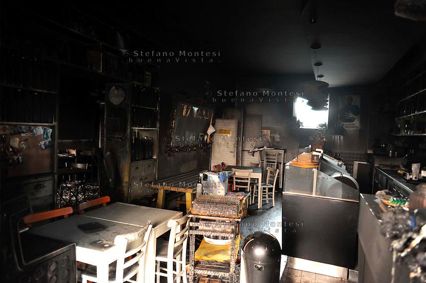 Roma  30 Marzo 2009.Incendiato lo storico bar Necci, nel quartiere Pigneto a Roma, il bar dove Pierpaolo Pasolini realizzò il casting del film Accattone..